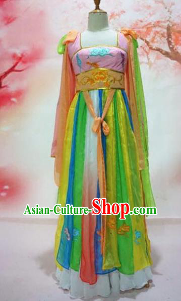 Traditional Chinese Tang Dynasty Historical Costumes Ancient Court Maid Embroidered Hanfu Dress for Women