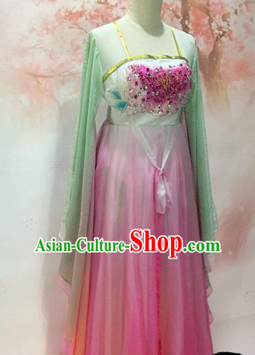 Traditional Chinese Tang Dynasty Historical Costumes Ancient Princess Embroidered Pink Dress for Women