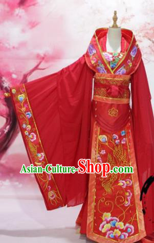 Chinese Traditional Embroidered Wedding Costume Ancient Tang Dynasty Imperial Consort Red Hanfu Dress for Women