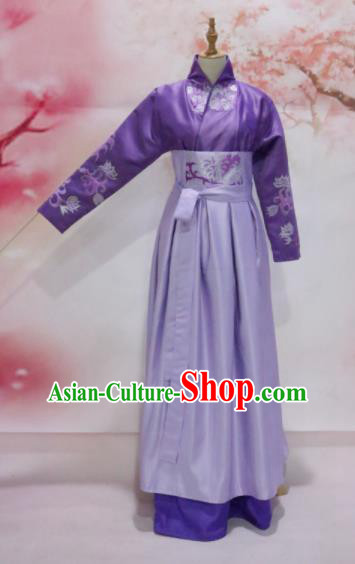 Chinese Traditional Embroidered Costume Ancient Tang Dynasty Princess Purple Hanfu Dress for Women
