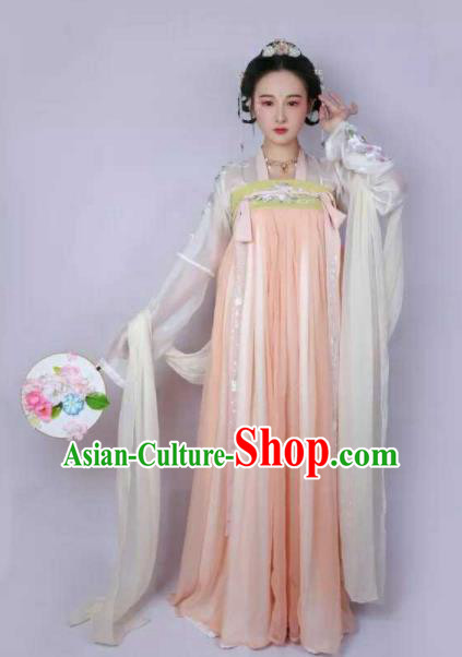 Traditional Chinese Tang Dynasty Palace Hanfu Dress Ancient Princess Embroidered Costumes for Women