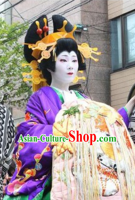 Traditional Japanese Geisha Black Long Wig and Hair Jewelry