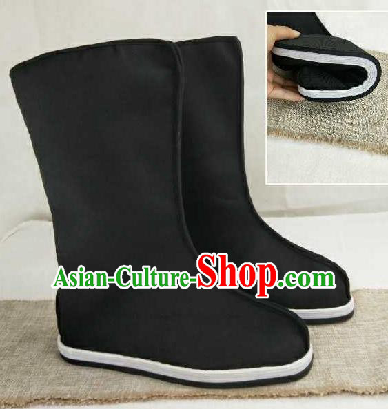 Chinese Traditional Classical Shoes Ancient Hanfu Shoes Swordsman Black Boots for Men