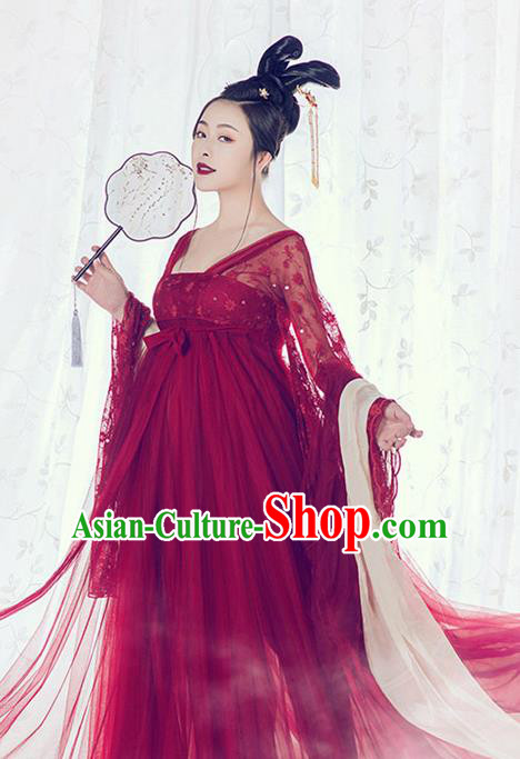 Traditional Chinese Tang Dynasty Palace Lady Costumes Ancient Imperial Consort Red Dress for Women