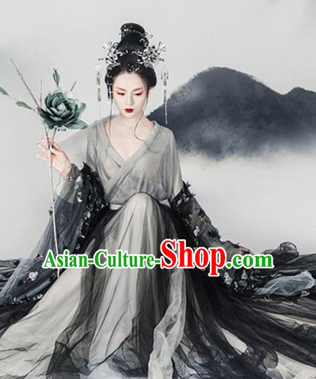 Traditional Chinese Tang Dynasty Imperial Consort Costumes Ancient Fairy Dress and Headpiece for Women