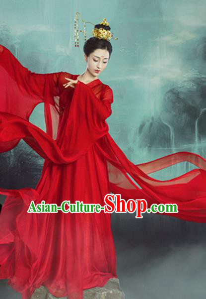 Traditional Chinese Ancient Imperial Consort Wedding Red Costumes and Headpiece for Women