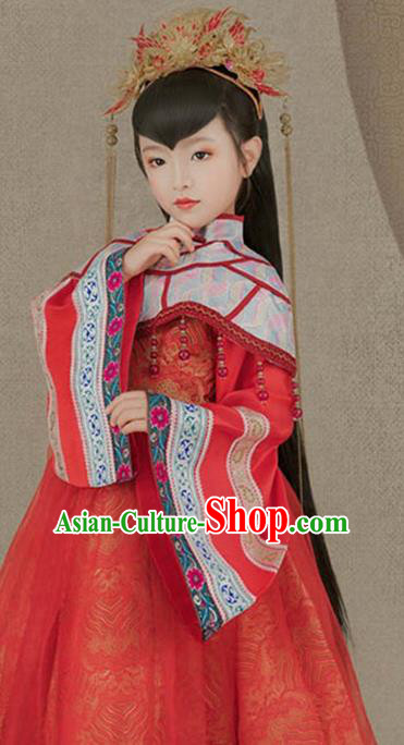 Traditional Chinese Ancient Princess Costumes and Headpiece Complete Set for Kids