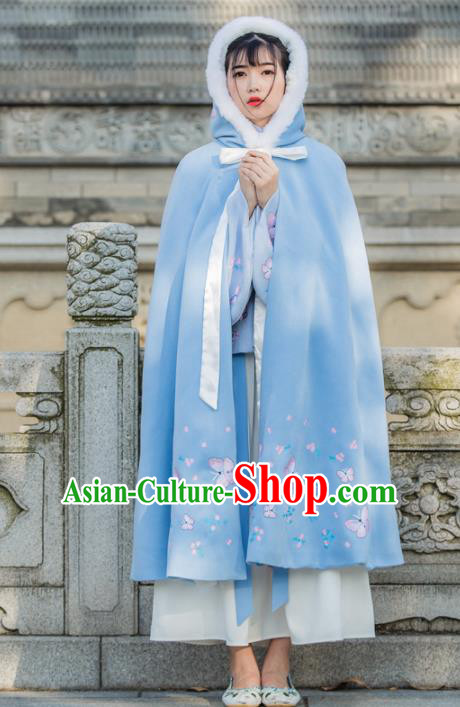 Traditional Chinese Ancient Princess Costumes Embroidered Butterfly Blue Cloak for Women