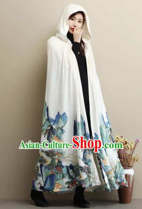 Traditional Chinese Ancient Princess Costumes White Cloak for Women