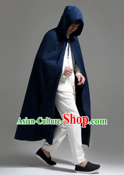 Chinese Traditional Ancient Swordsman Costumes Navy Cloak for Men