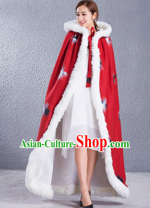 Traditional Chinese Ancient Princess Costumes Red Woolen Cloak for Women
