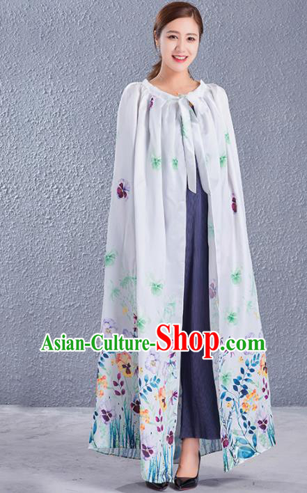 Traditional Chinese Ancient Costumes Hanfu Printing Grey Cloak for Women