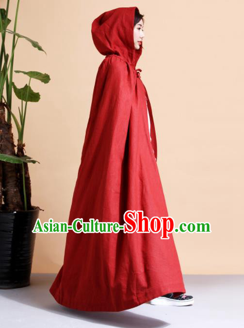 Chinese Traditional Costumes Ancient Hanfu Red Long Cloak for Women