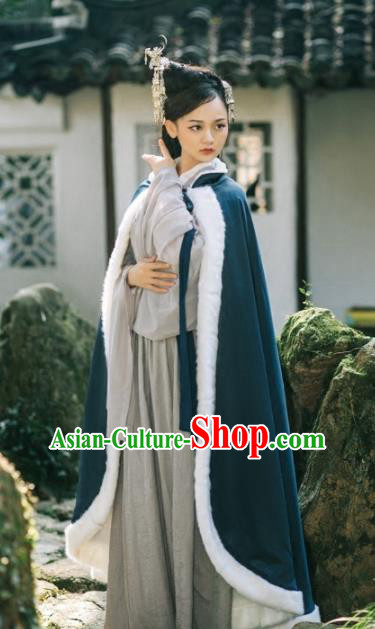 Chinese Traditional Costumes Ancient Hanfu Embroidered Atrovirens Woolen Cloak for Women