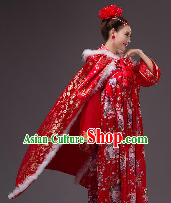 Chinese Traditional Costumes Ancient Peri Princess Hanfu Red Satin Cloak for Women