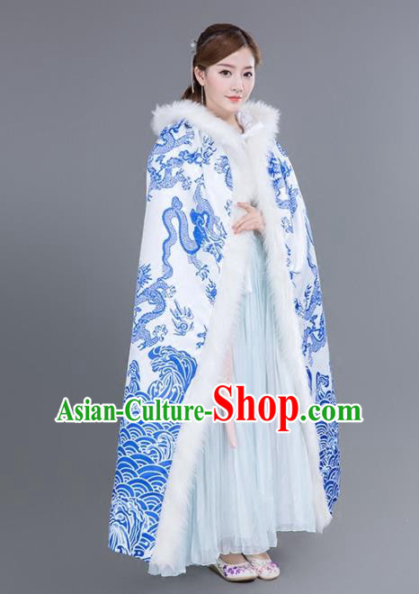 Chinese Traditional Costumes Ancient Princess Hanfu Dragons Cloak for Women