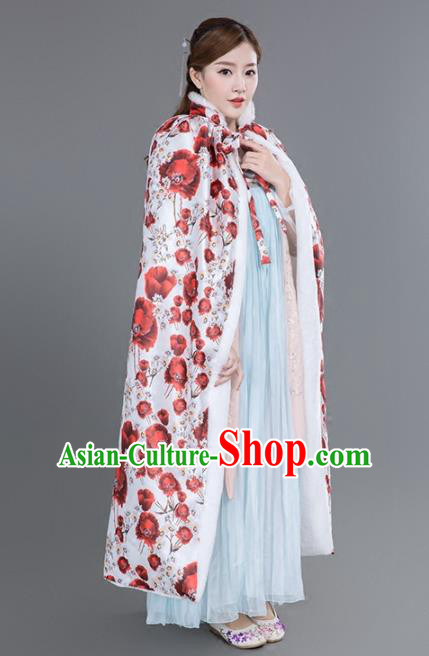 Chinese Traditional Costumes Ancient Princess Hanfu Thicken Cloak for Women