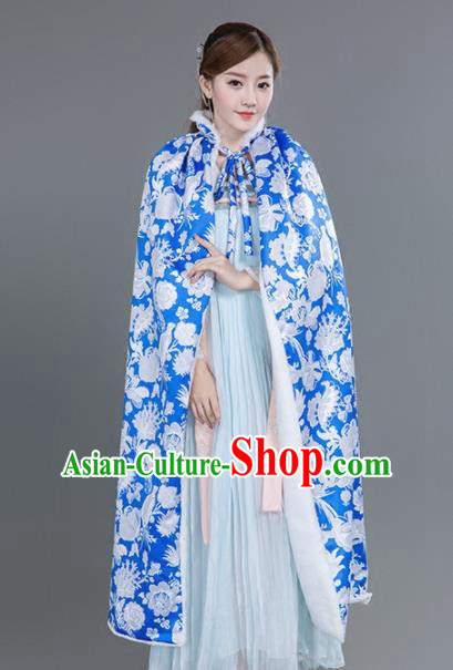 Chinese Traditional Costumes Ancient Princess Hanfu Thicken Blue Cloak for Women