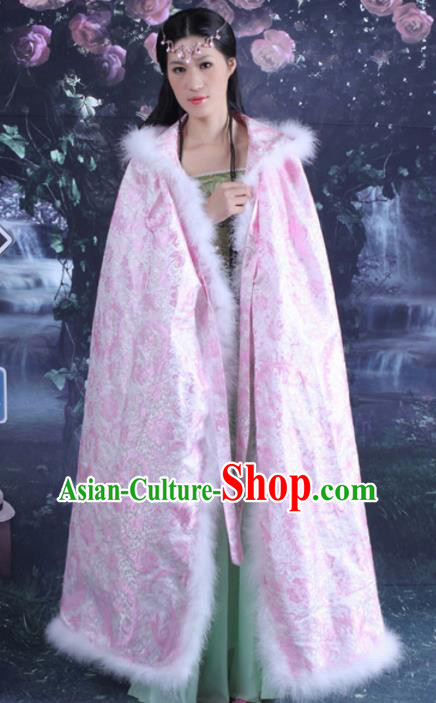 Chinese Traditional Costumes Ancient Qing Dynasty Princess Hanfu Pink Brocade Cloak for Women