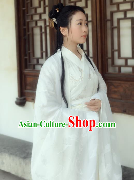 Chinese Jin Dynasty Princess Embroidered Costumes Ancient Peri Swordswoman Hanfu Dress for Women