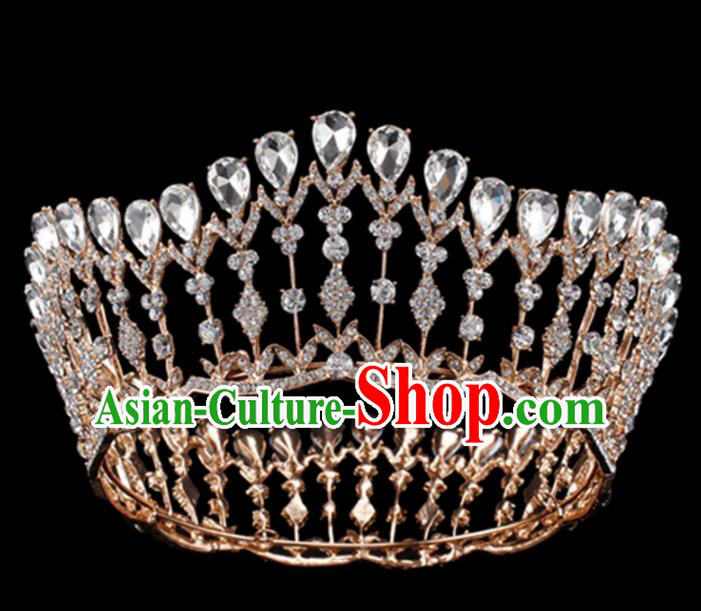 Baroque Style Bride Hair Accessories Queen Crystal Golden Royal Crown for Women