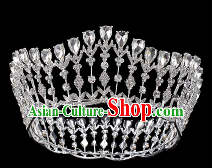 Baroque Style Bride Hair Accessories Queen Crystal Royal Crown for Women