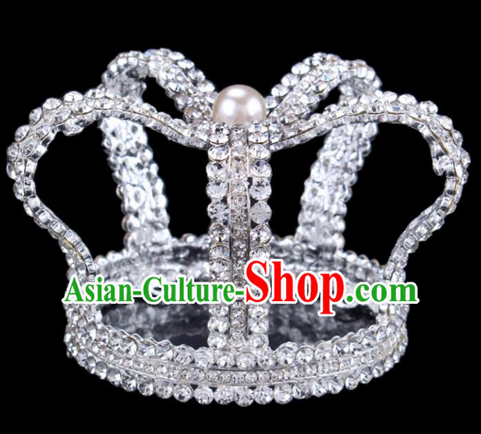 Baroque Style Bride Hair Accessories Queen Round Crystal Royal Crown for Women