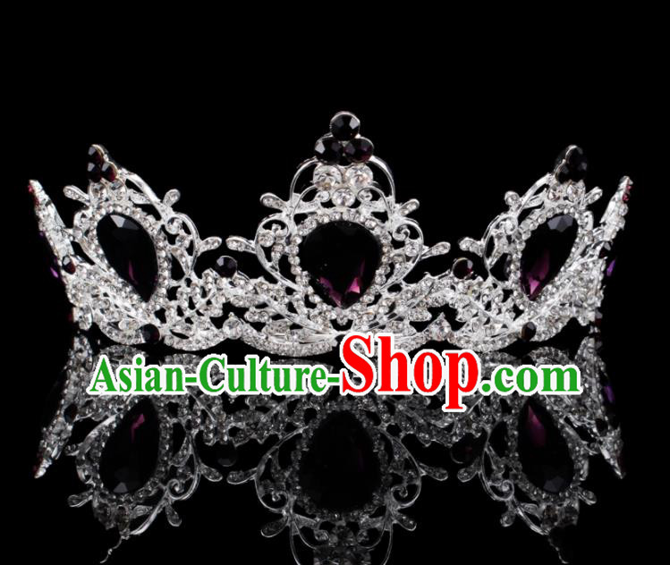 Baroque Style Bride Hair Accessories Queen Retro Purple Crystal Argent Royal Crown for Women