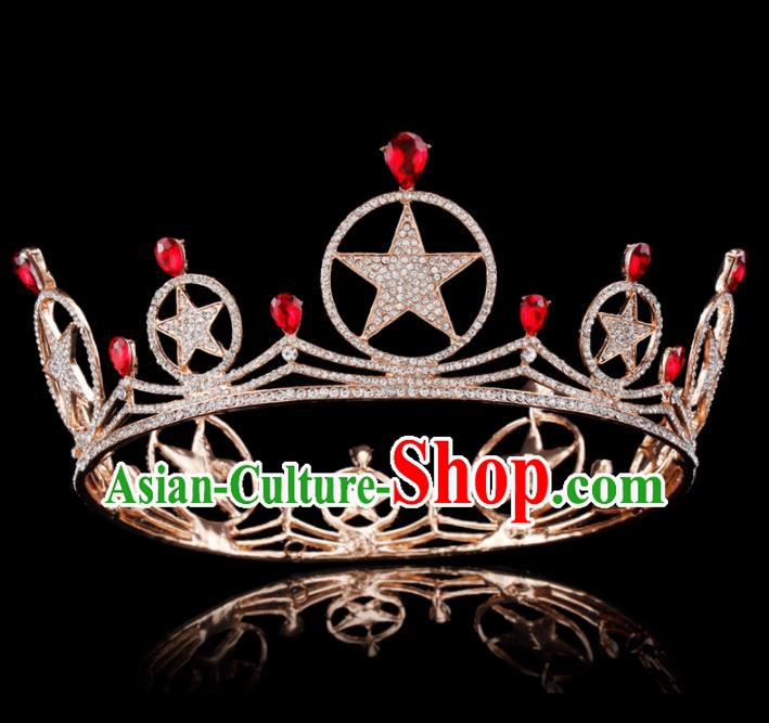 Baroque Style Bride Hair Accessories Queen Retro Crystal Stars Golden Royal Crown for Women