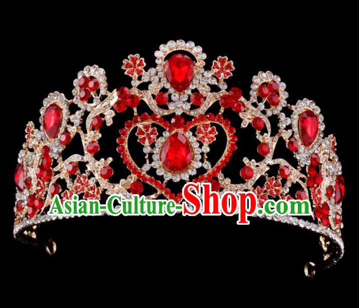 Baroque Style Bride Hair Accessories Queen Retro Red Crystal Royal Crown for Women
