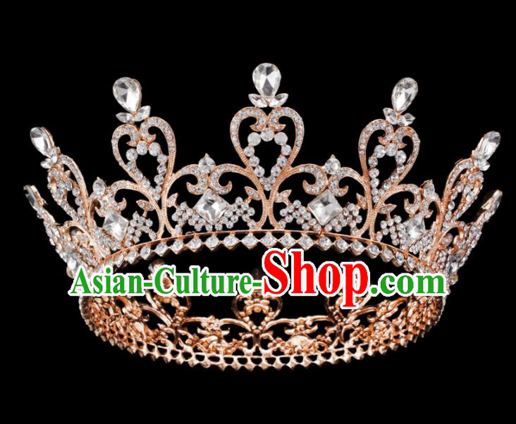 Baroque Wind Hair Accessories Princess Retro Crystal Golden Royal Crown for Women