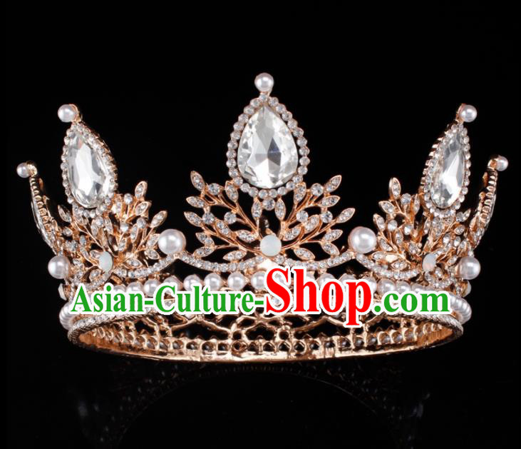 Baroque Wind Hair Accessories Princess Retro Crystal Pearls Golden Royal Crown for Women