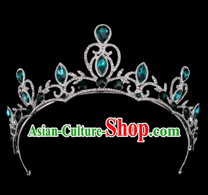 Baroque Wind Hair Accessories Princess Retro Green Crystal Argent Royal Crown for Women