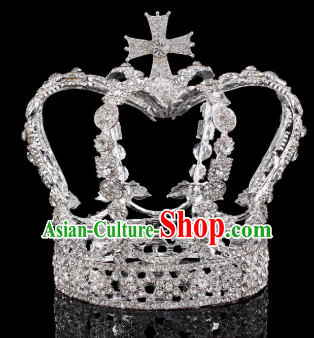 Baroque Wind Hair Accessories Bride Retro Rhinestone Argent Royal Crown for Women