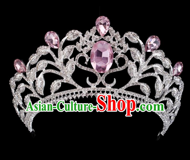 Top Grade Baroque Princess Retro Hair Accessories Bride Pink Crystal Royal Crown for Women