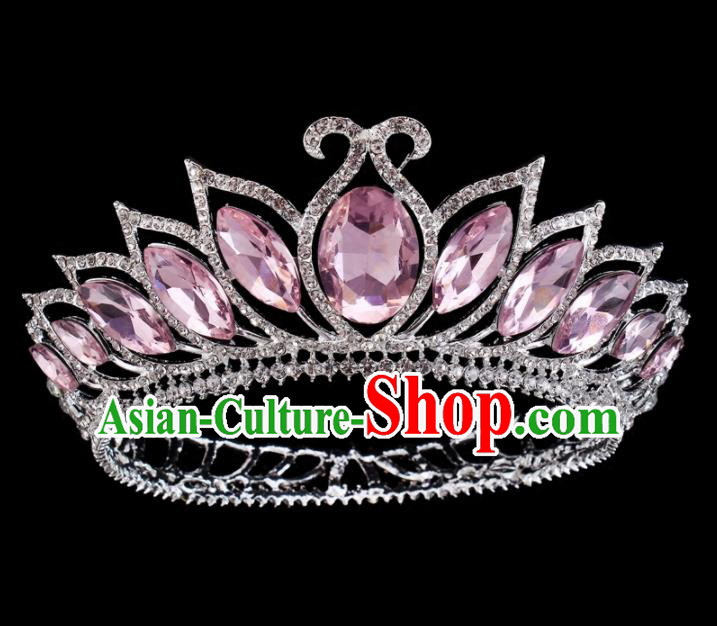 Top Grade Baroque Princess Retro Hair Accessories Bride Pink Crystal Round Royal Crown for Women