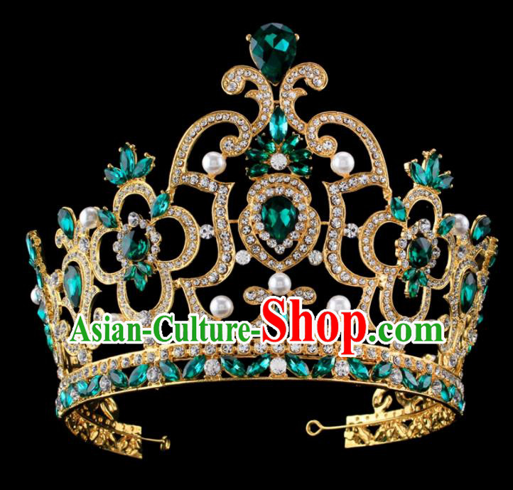 Top Grade Baroque Princess Retro Pearls Royal Crown Bride Green Crystal Wedding Hair Accessories for Women