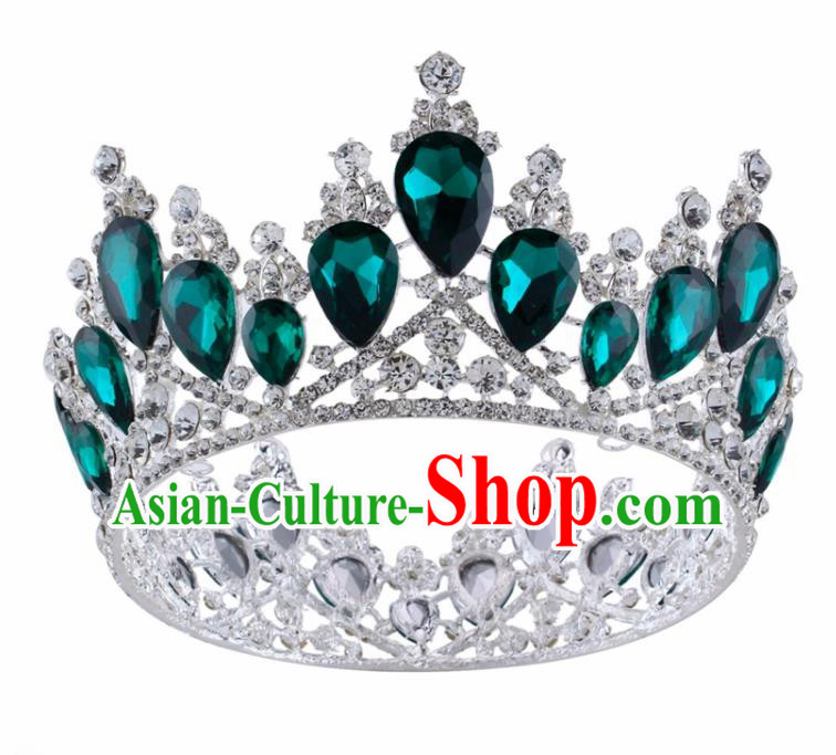 Top Grade Baroque Princess Retro Round Royal Crown Bride Green Crystal Wedding Hair Accessories for Women