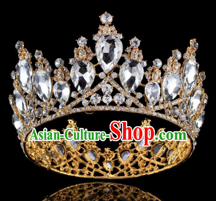 Top Grade Baroque Princess Retro Golden Round Royal Crown Bride Crystal Wedding Hair Accessories for Women