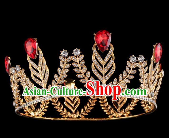 Top Grade Baroque Princess Golden Retro Royal Crown Bride Crystal Wedding Hair Accessories for Women