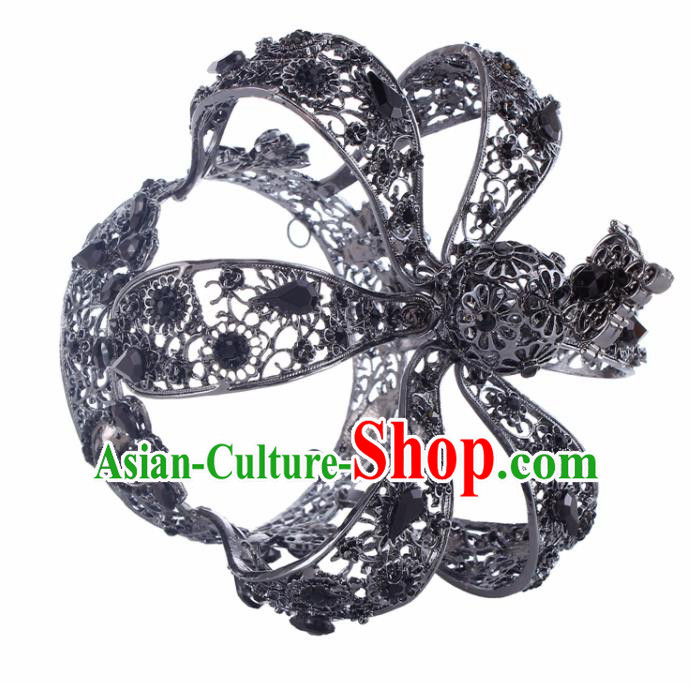Top Grade Baroque Queen Black Royal Crown Bride Crystal Retro Wedding Hair Accessories for Women