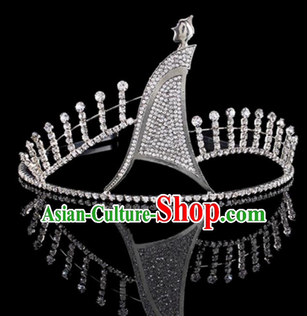 Top Grade Baroque Queen Crystal Royal Crown Bride Retro Wedding Hair Accessories for Women