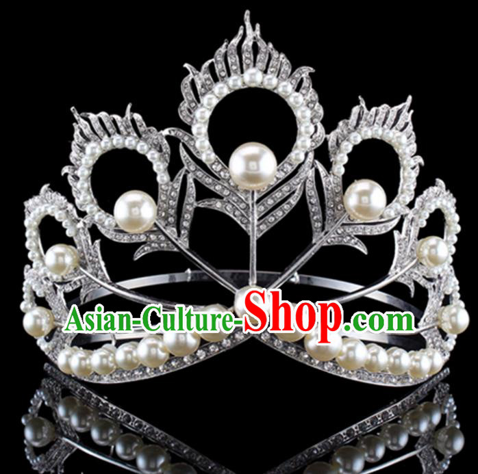 Top Grade Baroque Queen Crystal Pearls Royal Crown Bride Retro Wedding Hair Accessories for Women