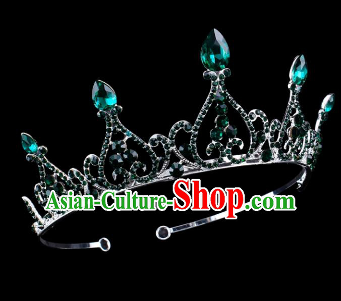 Top Grade Baroque Queen Crystal Hair Clasp Royal Crown Bride Retro Wedding Hair Accessories for Women