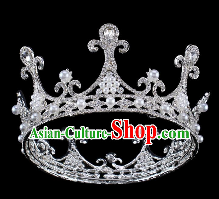 Top Grade Baroque Queen Pearls Royal Crown Bride Retro Wedding Hair Accessories for Women