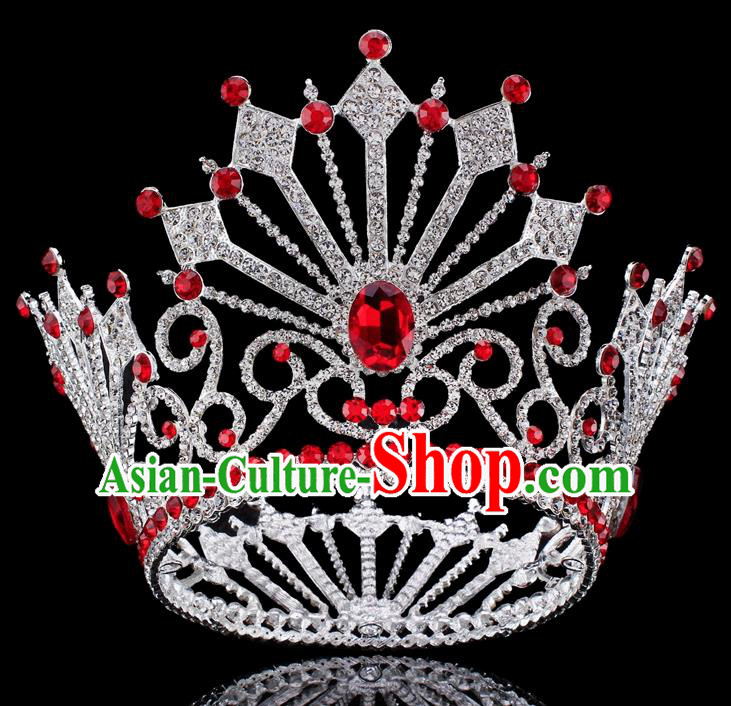 Top Grade Baroque Queen Red Crystal Royal Crown Bride Retro Wedding Hair Accessories for Women