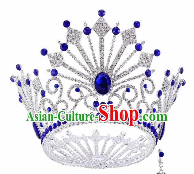 Top Grade Baroque Queen Blue Crystal Argent Royal Crown Bride Retro Wedding Hair Accessories for Women