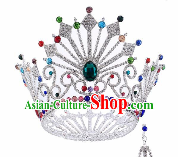 Top Grade Baroque Queen Colorful Crystal Argent Royal Crown Bride Retro Wedding Hair Accessories for Women