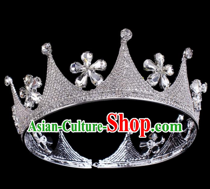 Top Grade Baroque Crystal Flowers Round Royal Crown Bride Retro Wedding Hair Accessories for Women
