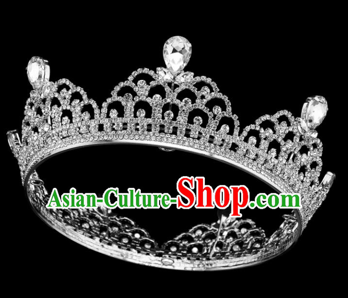 Top Grade Baroque Style Round Royal Crown Bride Retro Wedding Hair Accessories for Women
